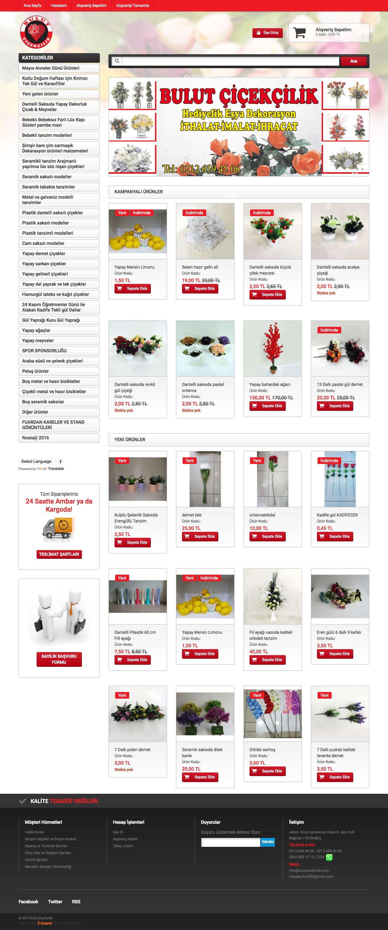 Bulut Çiçekçilik Web Sitesi