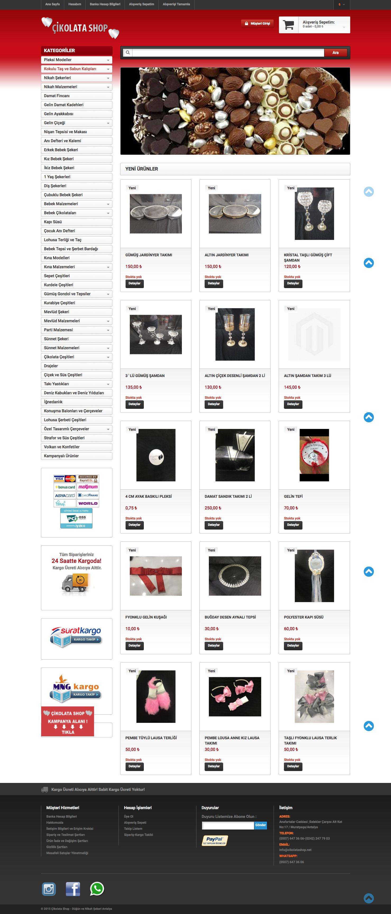 Çikolata Shop Web Sitesi
