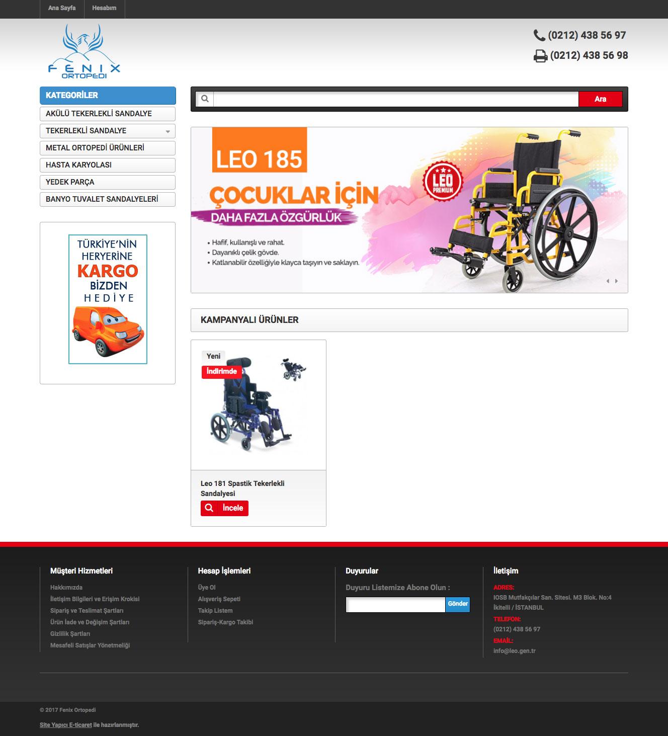 Fenix Ortopedi Web Sitesi